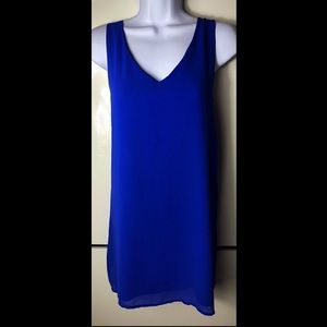Royal blue criss cross halter dress